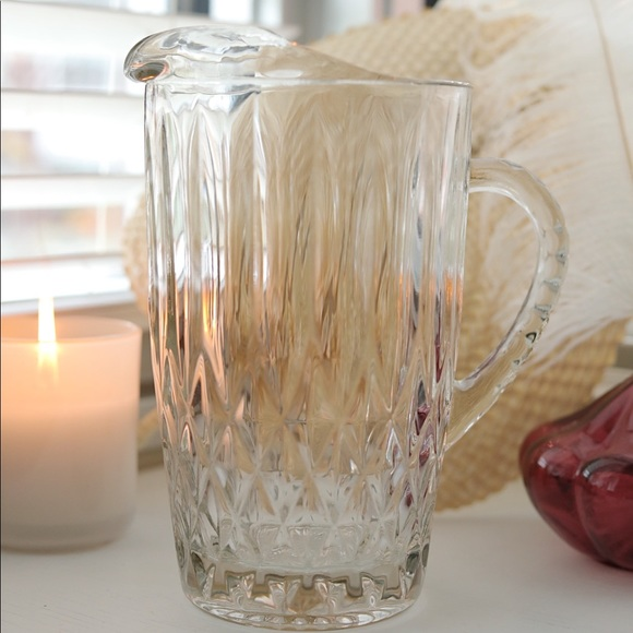 Vintage Clear Diamond Cut Glass Pitcher